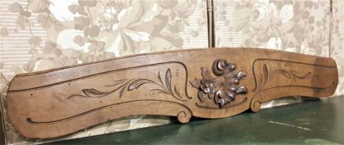 Flower leaf shell wood carving pediment Antique french architectural salvage