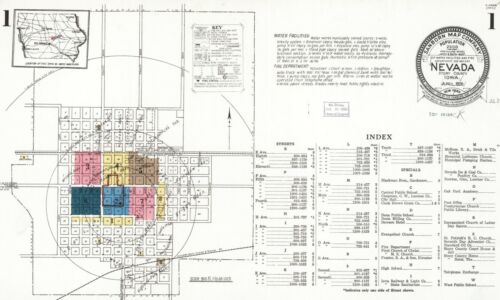 Nevada Iowa~Sanborn Map© sheets~with 27 maps in full color on a CD~PDF format