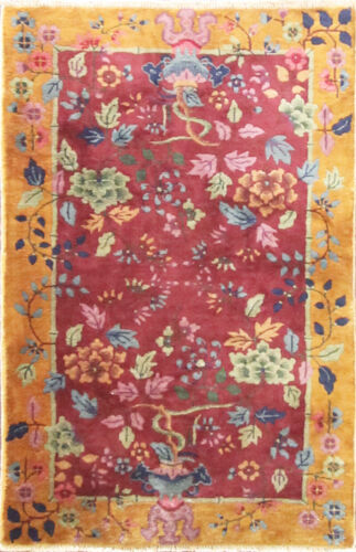 """Antique Art Deco Chinese Rug, The Paradise  2'11"""" x 4'9"""" #17230"""