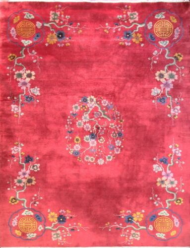 """Antique Art Deco Chinese Oriental Rug, 9 x 11'7"""" #17199 As Is"""