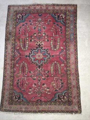 Vintage/Antique? Handknotted Wool  Rug 140cms x 95cms
