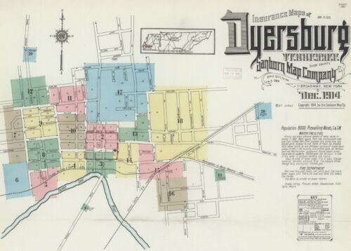 Dyersburg, Tennessee~Sanborn Map© sheets~50 maps in color~1886 to 1909