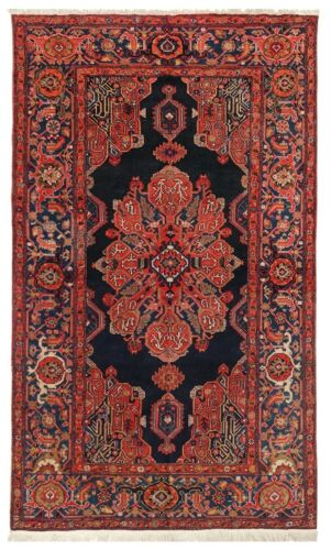"""4'4"""" x 7 Hand Knotted Antique Tribal Malayer Navy Red Wool Nomadic Oriental Rug"""
