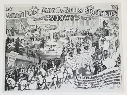 DOUBLE SIDED CIRCUS POSTER ADAM FOREPAUGH & SELLS BROTHERS HORSES STREET PARADE