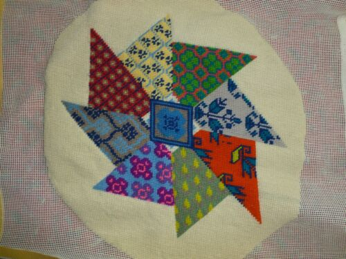 Colorful Vtg Needlepoint Wool Pillow Cushion Wall Hanging Crazy Quilt Design