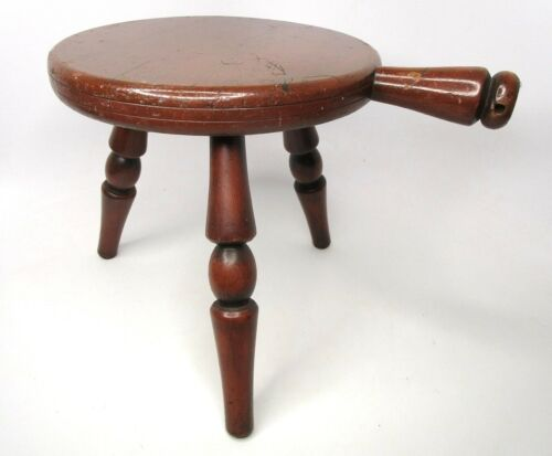 Farmhouse Vintage Country Solid Hardwood (3) Legged Dairy Milking Stool w/Handle