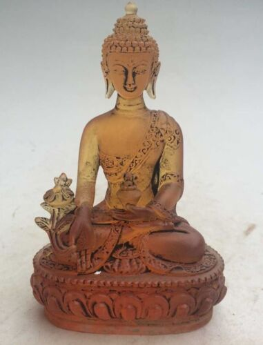 Collectibles Decorated Superb Old Chinese Coloured Glaze Buddha Seated Statue