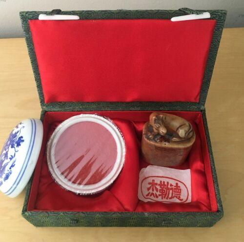 Vintage Chinese Caved Soapstone Dog Seal with Red Ink Set Box