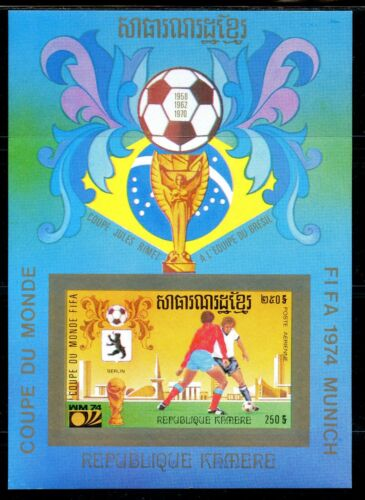 Cambodge Cambodia Munich 1974 Football FIFA Michel Bloc 84B BERLIN imperf