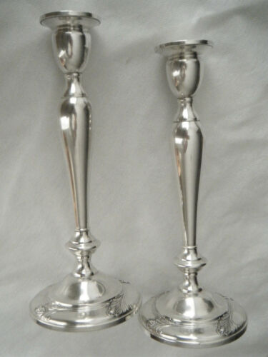 "International ""Spring Glory"" Pair Sterling Silver 10"" Baluster Candlesticks"