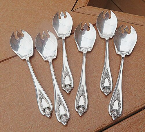 """Set 6 Ice Cream Forks (""""Sporks"""") in 1847 Rogers Popular 1911 OLD COLONY Pattern"""