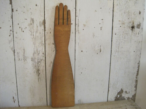 Old  Primitive Wood Glove Stretcher Wisconsin Textile Two Rivers Signed AAFA