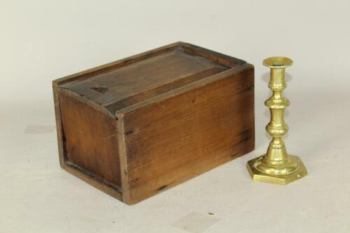 A NICE LATE 18TH C CT PINE SLIDING LID CANDLE BOX IN UNTOUCHED OLD ATTIC SURFACE