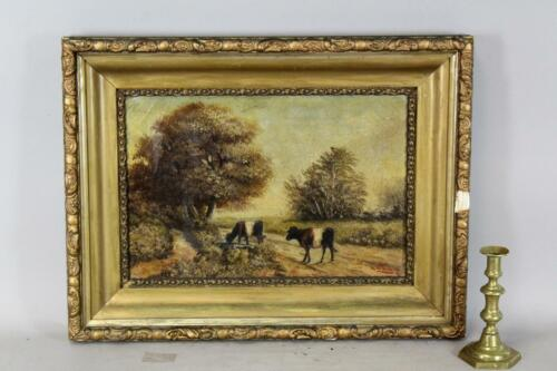 "A NICE SIGNED ""A WITTIS 1899"" 19TH C PA FOLK ART PAINTING COWS CROSSING A ROAD"