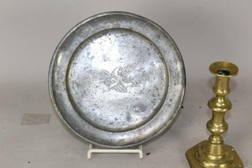VERY RARE 18TH C AMERICAN PEWTER PLATE WITH ENGRAVED HERALDIC EAGLE & SHIELD