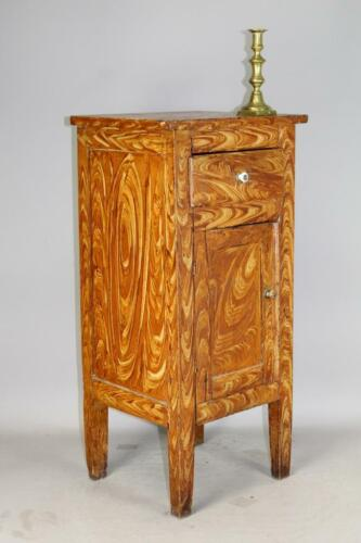 A GREAT EARLY 19TH C 1 DOOR - 1 DRAWER CUPBOARD FANTASTIC MUSTARD & BROWN PAINT