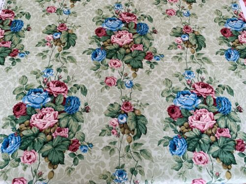 Vintage Sanderson LINEN Floral Furnishing Fabric 'HATFIELD' 142 x 170cm
