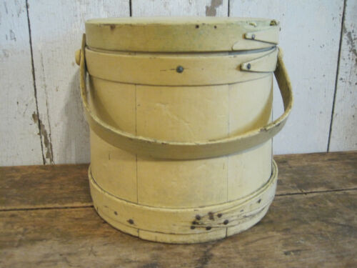 Old Primitive Yellow Paint Wood Firkin with Three Fingers American Country Find