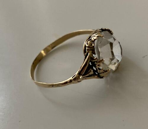 FABERGE Antique Imperial RUSSIAN Ring with Smoke Topaz stone , 56 gold