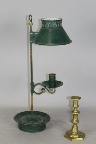 A RARE EARLY 19TH C TIN BOUILLOTE CANDLE HOLDER IN OLD DARK GREEN & GOLD PAINT