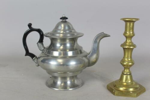 A VERY RARE 19TH C PEWTER TEAPOT SIGNED BY JOSIAH DANFORTH OF MIDDLETOWN CT