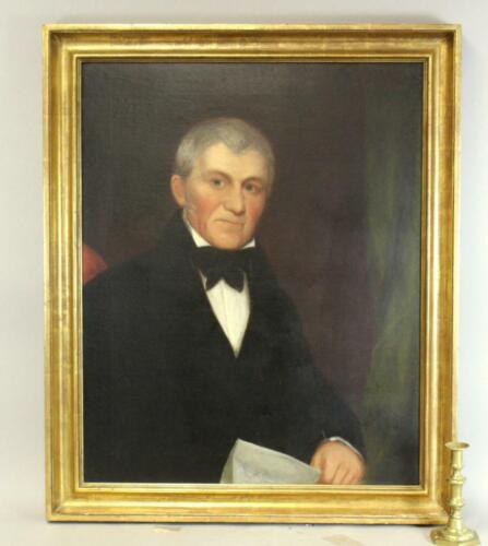 A FINE EARLY 19TH C OIL PORTRAIT PAINTING OF A GENTLEMAN SITTING IN A CHAIR