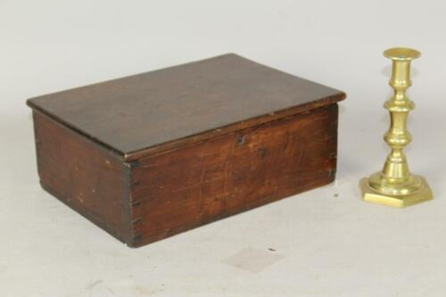 A RARE 19TH C ENFIELD CT SHAKER SEWING BOX IN ORIGINAL SURFACE BUTTERNUT & PINE