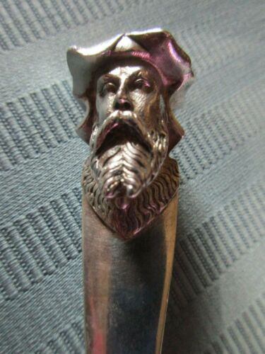 GORHAM 3D CHEESE Knife BEARDED MAN STERLING SILVER No. 90 Figural BRIGHT Cut NM