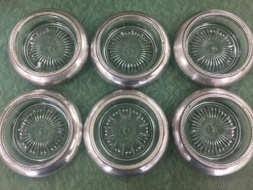 Laben Sterling Silver & Glass Drinks Coasters Set x 6