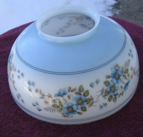Antique Pretty Blue Floral Large HEAVY GWTW Parlor Light Shade~Stock Part dd