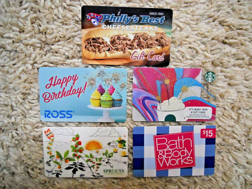 Gift Cards, Collectible, five cards, new, unused, no value on the cards     (IC)