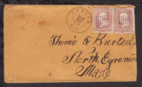 UNITED STATES 1864 STARTA WIS COVER 3c x 2 Early Fancy Square Waffle Grid cancel