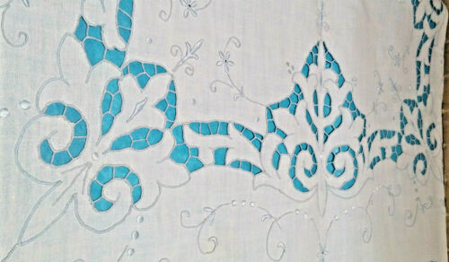 """NWOT White Linen Tablecloth 103""""L X 66""""W Intricate Cutwork Blue Embroidery"""