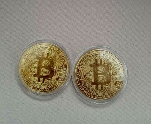 2 OF bitcoin coin plated with real 24-carat 9.99 gold Plated .