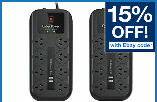 TWIN PACK CyberPower 8 Way Outlet Surge Protector Power Board USB 2 PACK