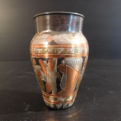 Container Pot Vase Metal Silver Copper Brass Handmade Ethnic Egypt N3937