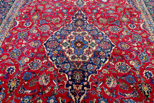 10X13 1940's SUPERB ANTIQUE HAND KNOTTED VEGETABLE DYE WOOL MASHADD ORIENTAL RUG