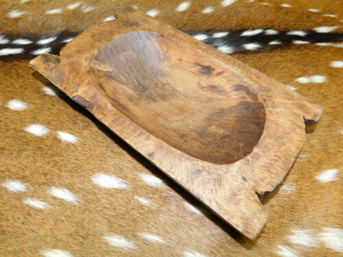 """* Carved Wooden Dough Bowl Primitive Wood Trencher Tray Rustic Home Decor 9 -11"""""""
