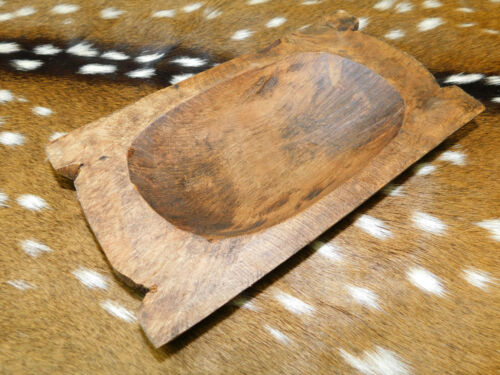 """Carved Wooden Dough Bowl Primitive Wood Trencher Tray Rustic Home Decor 10"""""""