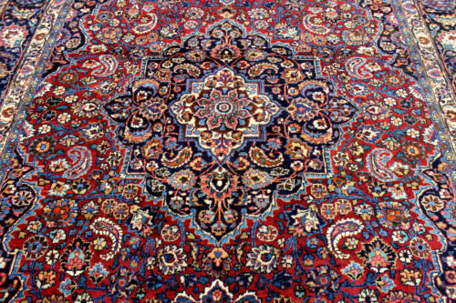 9X12 1930's FINE ANTIQUE HAND KNOTTED VEGETABLE DYE WOOL MASHADD DISTRESSED RUG