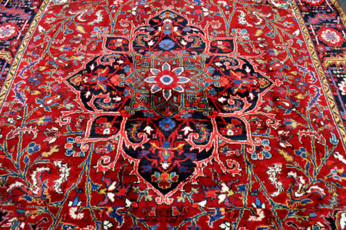 8X12 1940s EXQUISITE ELEGANT MINT ANTIQUE HAND KNOTTED HERIZZ GEOMETRIC WOOL RUG