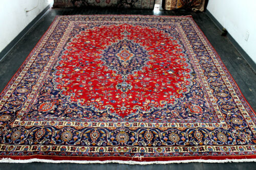 10X13 1940's SIGNED ANTIQUE HAND KNOTTED VEGETABLE DYE WOOL MASHADD ORIENTAL RUG