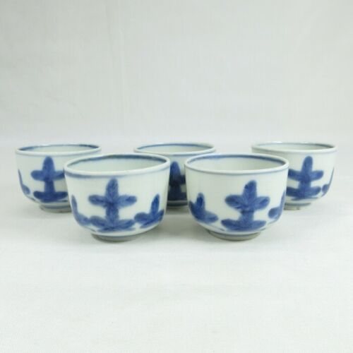 C319: Chinese five tea cups for SENCHA of old blue-and-white porcelain ware