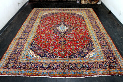 9X12 1940's AWESOME ANTIQUE HAND KNOTTED VEGETABLE DYE WOOL KASHANN ORIENTAL RUG