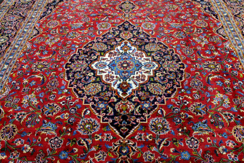 10X13 1940's SIGNED ANTIQUE HAND KNOTTED VEGETABLE DYE WOOL KASHANN ORIENTAL RUG