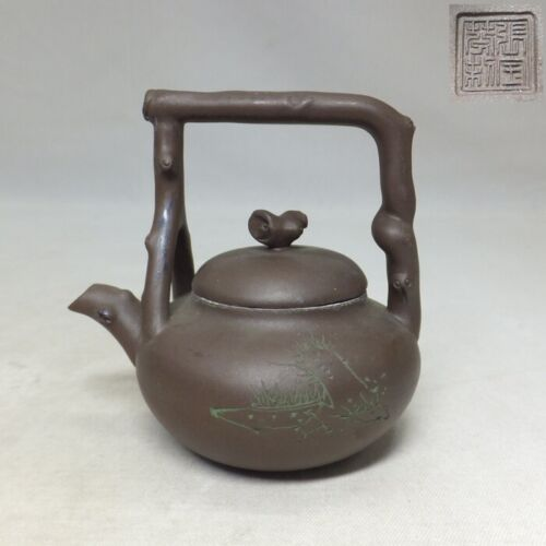 C248: Chinese SHUDEI unglazed pottery teapot for green tea SENCHA with sign