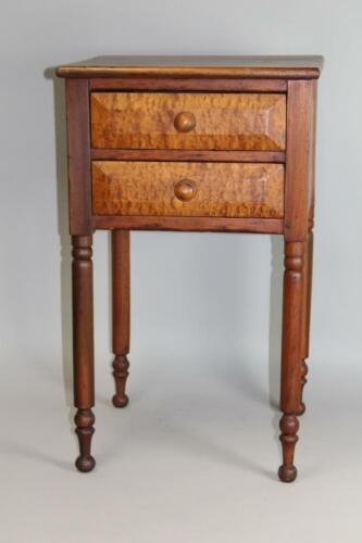 A 19TH C PA SHERATON TWO DRAWER STAND WITH BIRDSEYE MAPLE PANEL DRAWER FRONTS