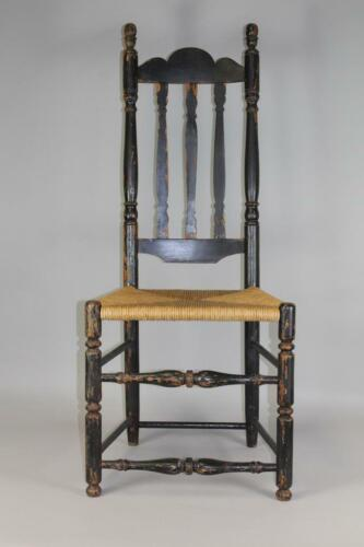 RARE BOLD 18TH C CAPE COD MA BANNISTER BACK CHAIR IN GREAT OLD BLACK PAINT
