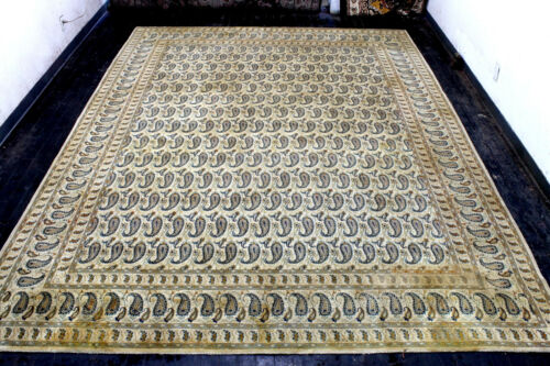 10X13 AUTHENTIC ANTIQUE HAND KNOTTED VEGETABLE DYE WOOL KASHANN DISTRESSED RUG