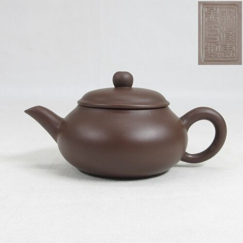 D0250 Chinese SHUDEI unglazed pottery teapot for SENCHA with good tone and sign